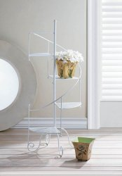 White Iron Spiral Showcase Staircase Plant Stand 4 Mesh Platforms 39 High