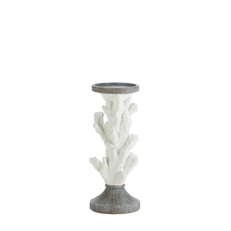 Image 1 of Faux White Coral Pillar Candle Holder Stand Nautical Decor 11 inches High
