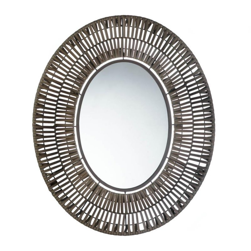 Image 0 of Faux Brown Rattan Oval Decorative Wall Mirror