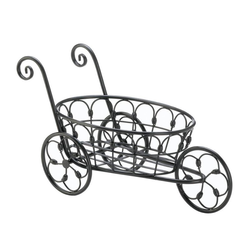 Image 1 of Black Iron Flower Cart Plant Stand w/ Flourishes & Swirls Use Indoors or Outdoor