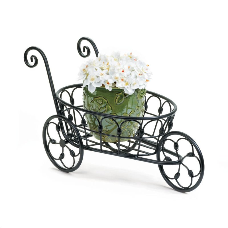 Image 0 of Black Iron Flower Cart Plant Stand w/ Flourishes & Swirls Use Indoors or Outdoor