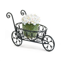 Black Iron Flower Cart Plant Stand w/ Flourishes & Swirls Use Indoors or Outdoor