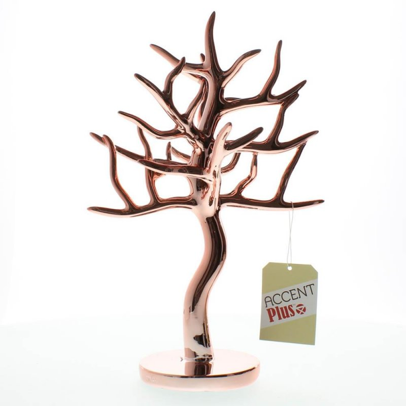 Image 1 of Elegant Rose Gold Jewelry Tree for Necklaces, Bracelets