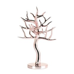 Elegant Rose Gold Jewelry Tree for Necklaces, Bracelets