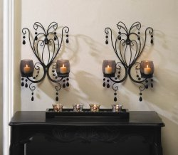 2 Midnight Elegance Candle Wall Sconces w/ Tinted Glass Cups, Beads