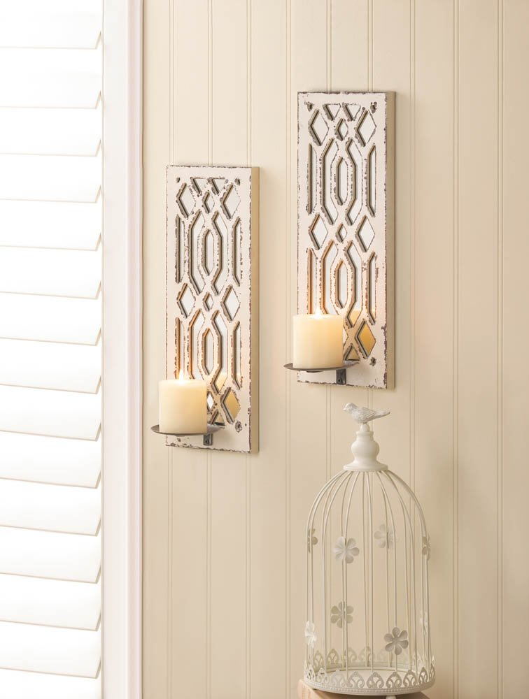 Image 0 of Set of 2 Deco Weathered White Geometric Mirrored Pillar Candle Wall Sconces
