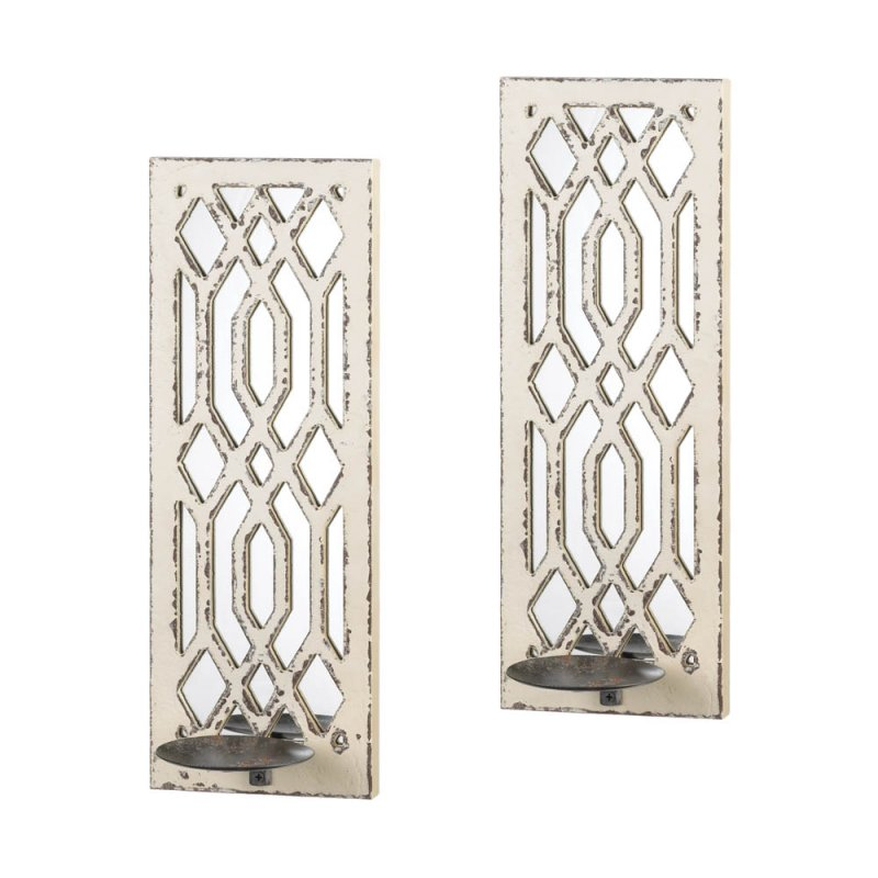 Image 1 of Set of 2 Deco Weathered White Geometric Mirrored Pillar Candle Wall Sconces