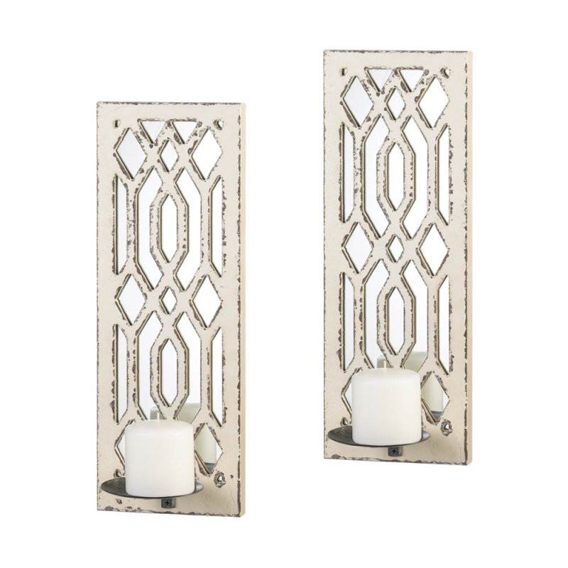 Image 2 of Set of 2 Deco Weathered White Geometric Mirrored Pillar Candle Wall Sconces