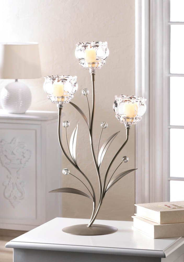Image 0 of Three Glass Crystal Votive Flower Cups on Leafy Vine Candle Holder Stand