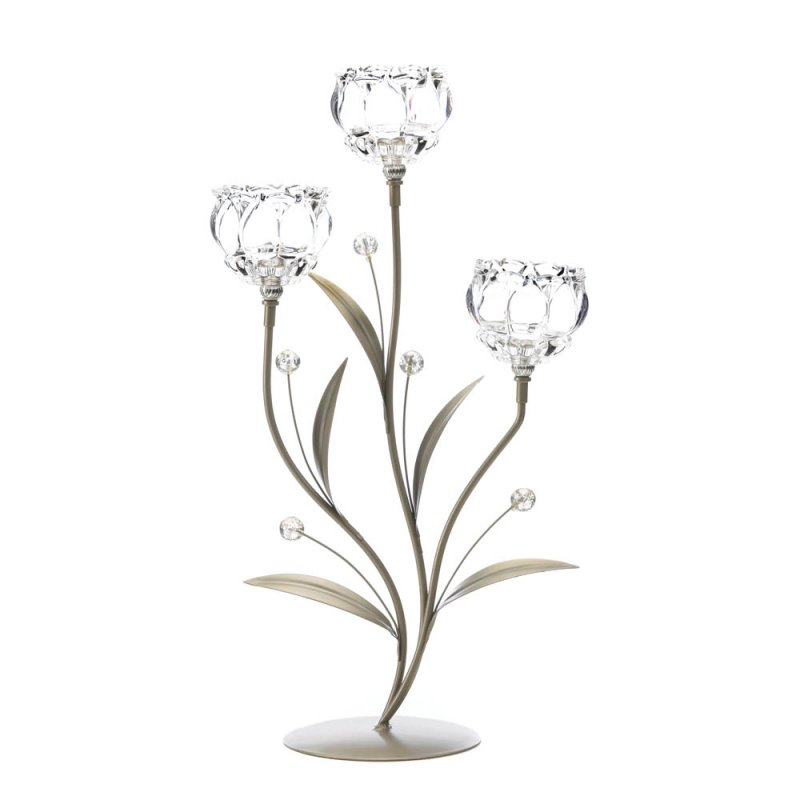 Image 1 of Three Glass Crystal Votive Flower Cups on Leafy Vine Candle Holder Stand