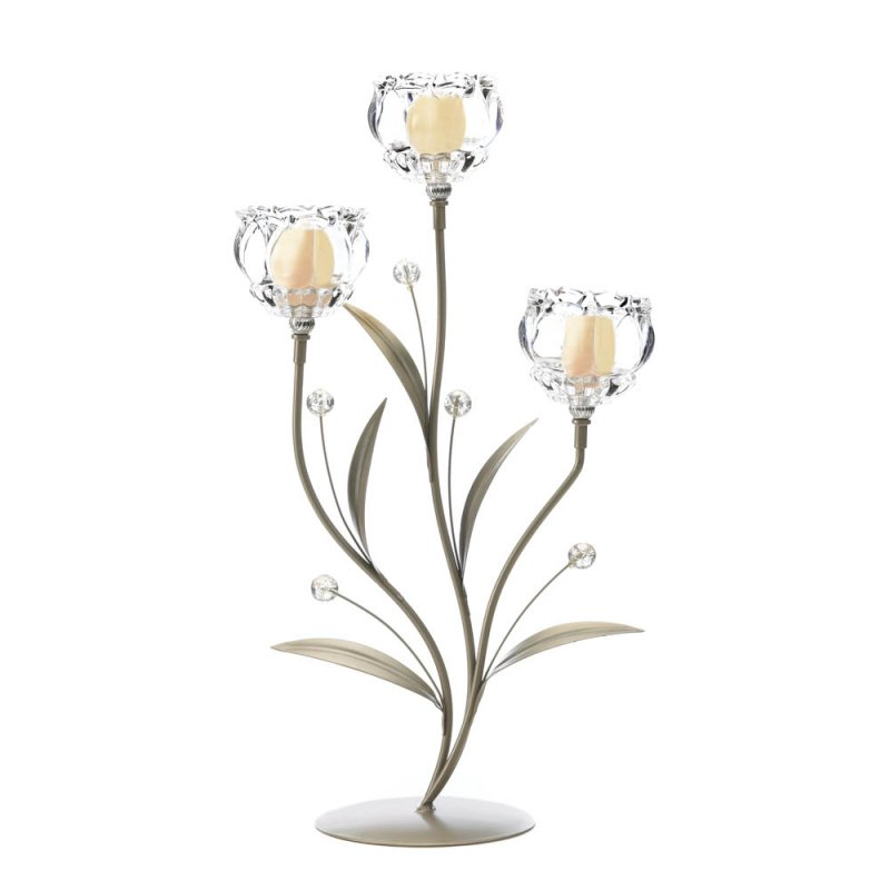 Image 2 of Three Glass Crystal Votive Flower Cups on Leafy Vine Candle Holder Stand