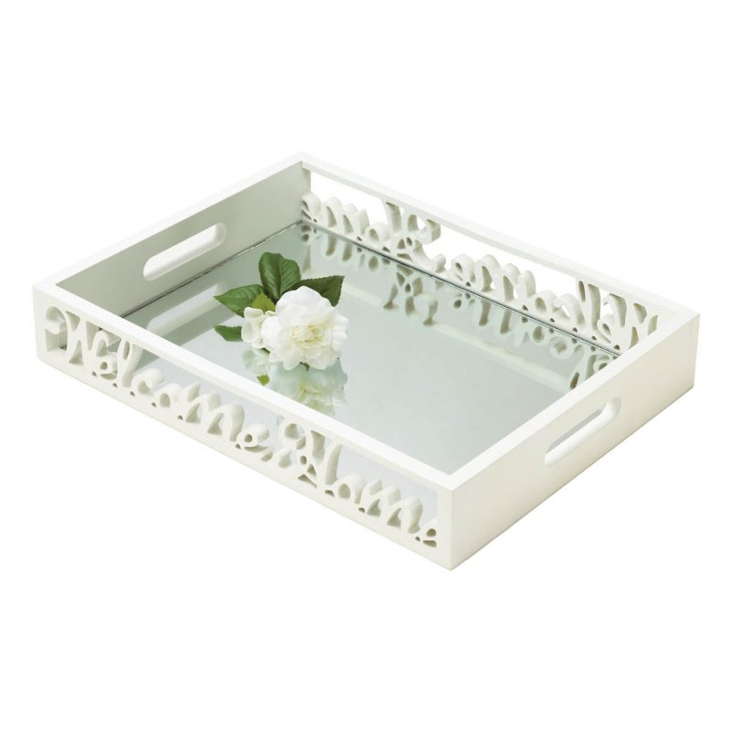 Image 0 of Shabby Cottage White Welcome Home Mirror Serving Tray with Handles