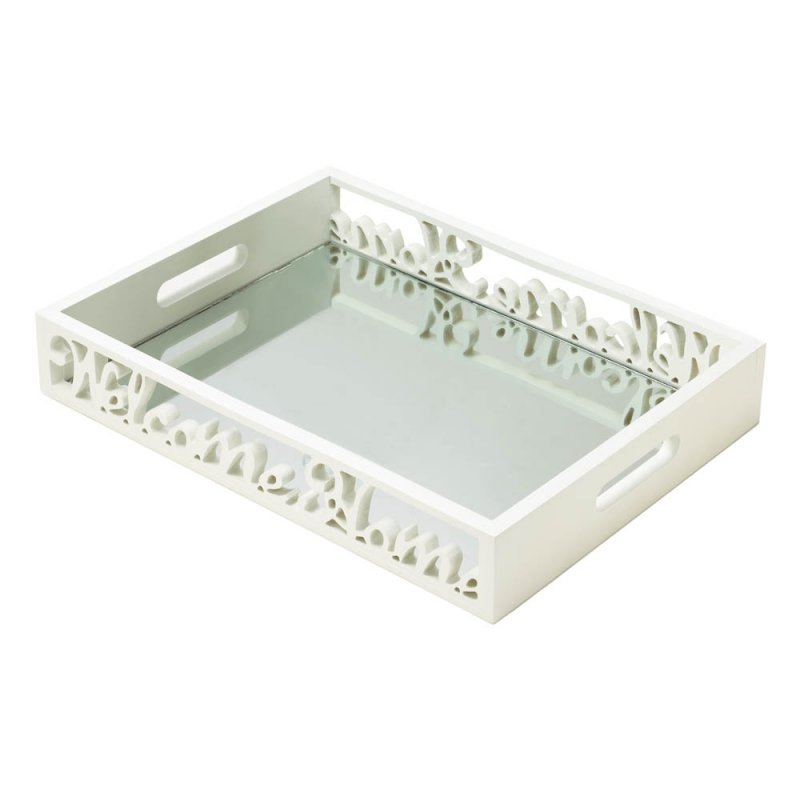 Image 1 of Shabby Cottage White Welcome Home Mirror Serving Tray with Handles