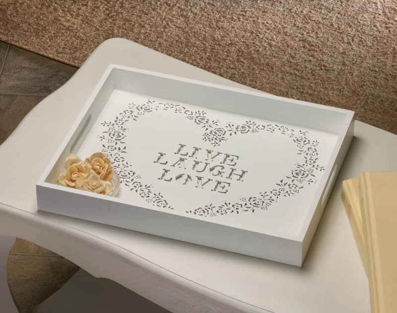 Image 0 of White Wooden Serving Tray w/ Handles Floral Stencil Heart w/ Live, Laugh, Love
