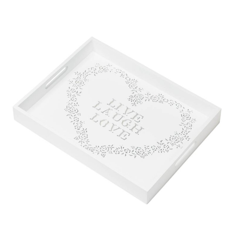 Image 1 of White Wooden Serving Tray w/ Handles Floral Stencil Heart w/ Live, Laugh, Love