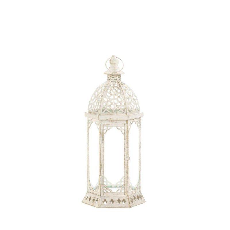 Image 1 of Graceful Distressed Vintage White Pillar Lantern w/ Scalloped Embellishments