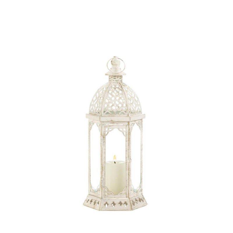 Image 2 of Graceful Distressed Vintage White Pillar Lantern w/ Scalloped Embellishments