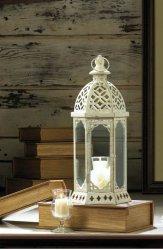 Graceful Distressed Vintage White Pillar Lantern w/ Scalloped Embellishments