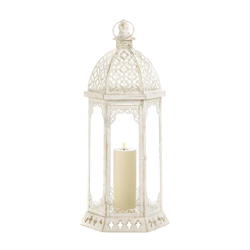 Image 2 of Large Graceful Distressed Vintage White Pillar Lantern w/ Scalloped Flourishes