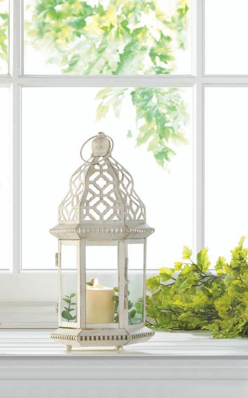 Image 0 of Small Distressed Vintage White Pillar Lantern w/ Cutout Flourishes Centerpieces