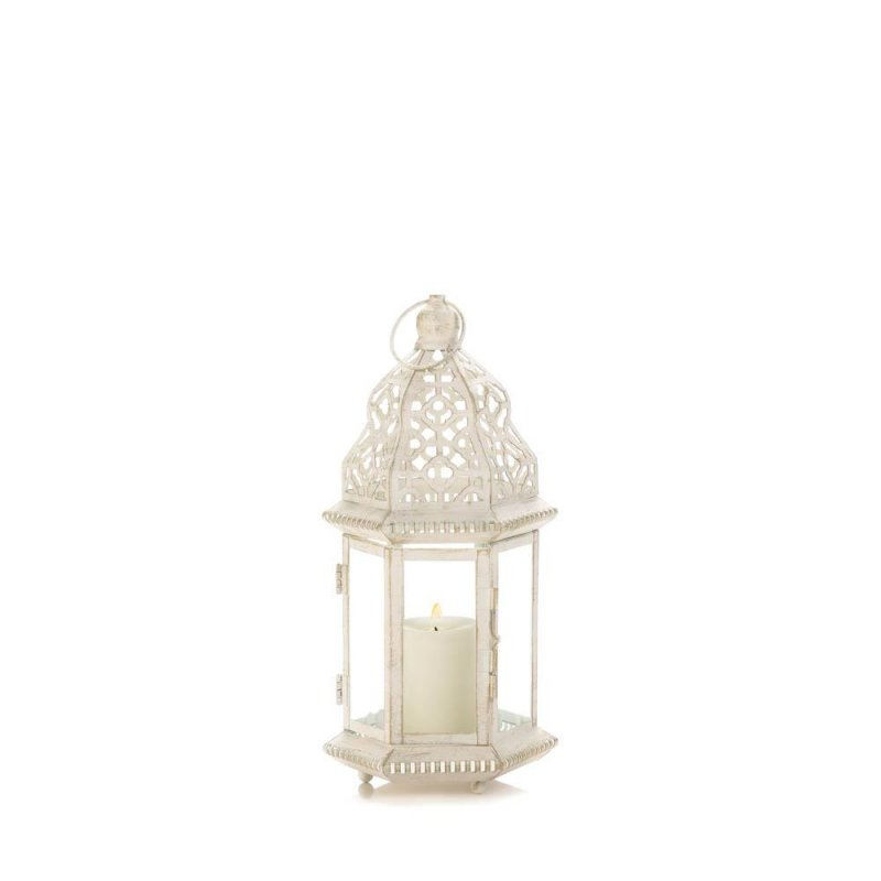Image 1 of Small Distressed Vintage White Pillar Lantern w/ Cutout Flourishes Centerpieces