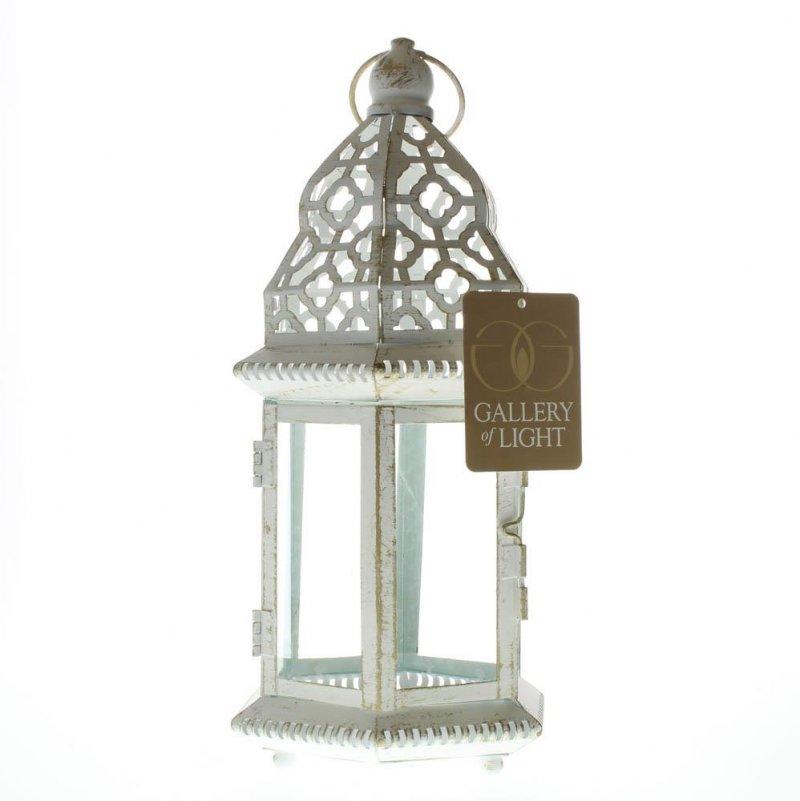 Image 2 of Small Distressed Vintage White Pillar Lantern w/ Cutout Flourishes Centerpieces