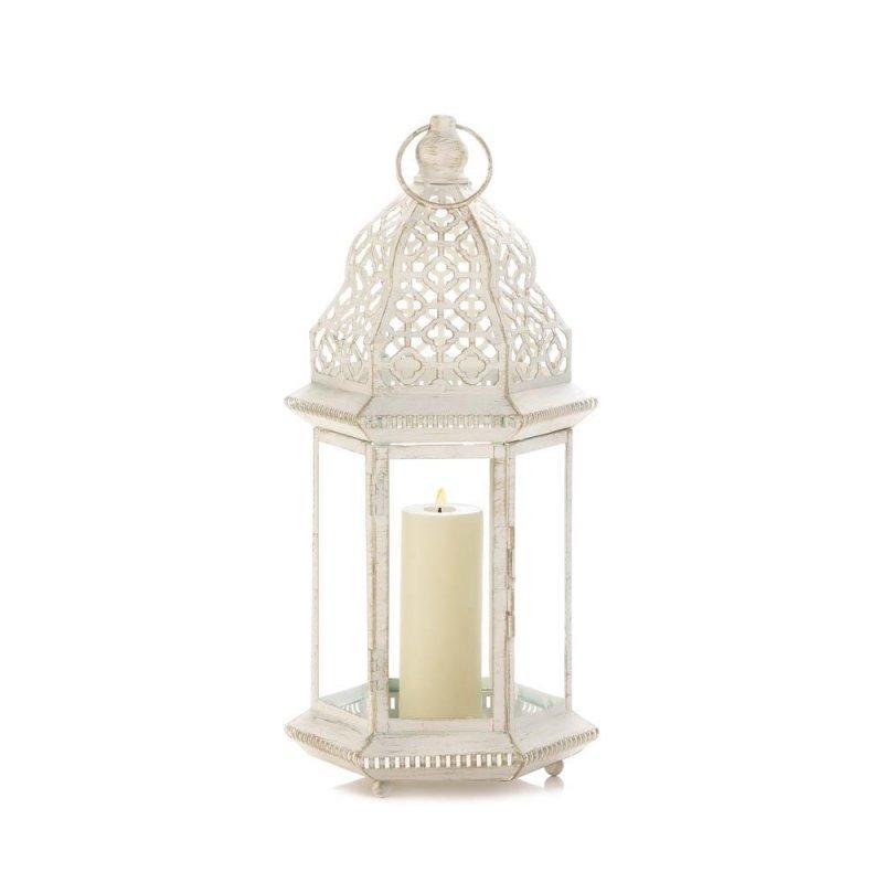 Image 1 of Large Distressed Vintage White Pillar Lantern w/ Cutout Flourishes Centerpieces