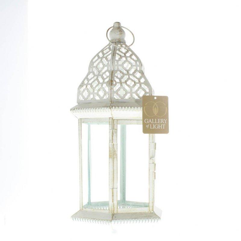 Image 2 of Large Distressed Vintage White Pillar Lantern w/ Cutout Flourishes Centerpieces