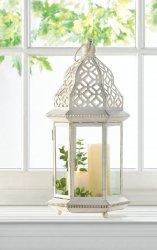 Small Distressed Vintage White Pillar Lantern w/ Cutout Flourishes Centerpieces