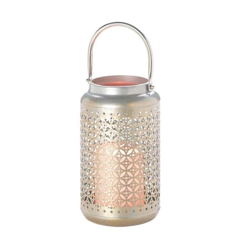 Image 2 of Silver Iron Filigree Lantern with Flameless LED Candle Use Indoors or Outdoor