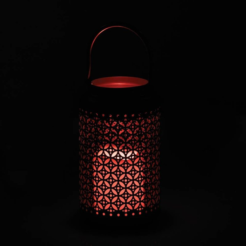 Image 3 of Silver Iron Filigree Lantern with Flameless LED Candle Use Indoors or Outdoor