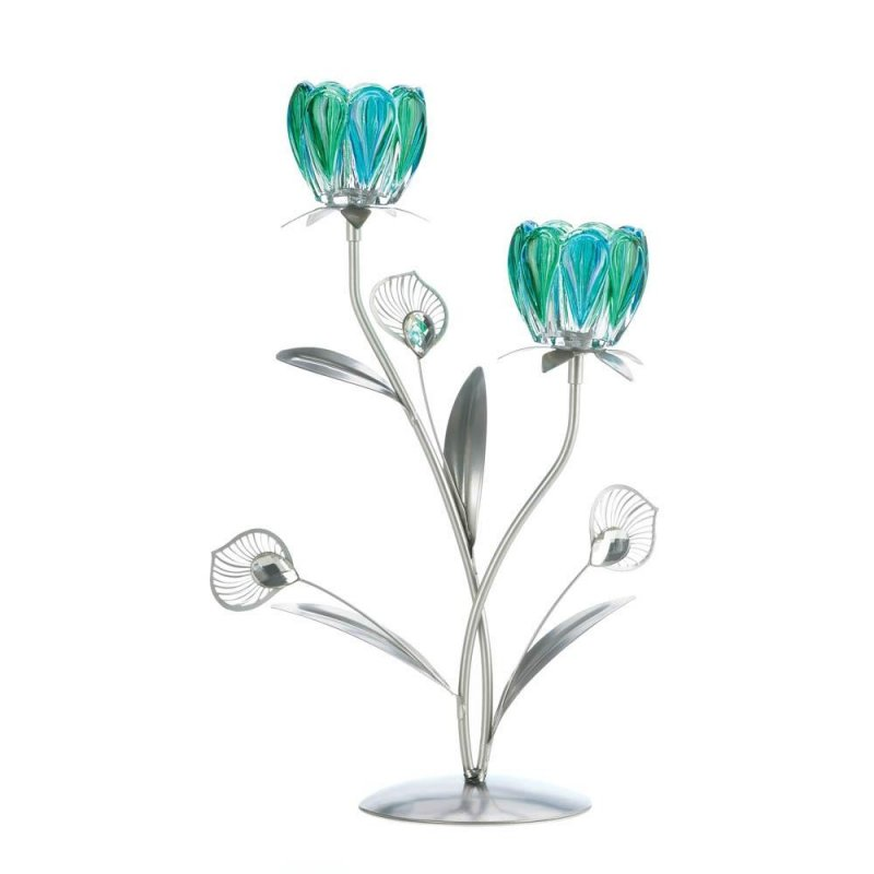 Image 0 of Peacock Flower Bloom 2 Candle Cups on Iron Stem Tealight Candle Holders