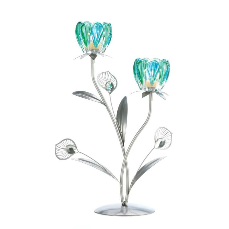 Image 1 of Peacock Flower Bloom 2 Candle Cups on Iron Stem Tealight Candle Holders