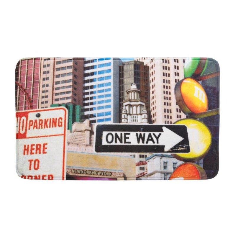 Image 0 of City Traffic Signs and Skyscrapers Memory Foam Floor Mat