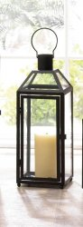 Large Chic Midtown Black Candle Lantern Clear Glass Panels Slanted Glass Roof