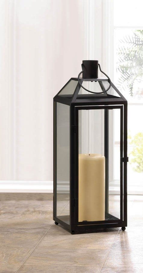 Image 1 of Large Chic Midtown Black Candle Lantern Clear Glass Panels Slanted Glass Roof
