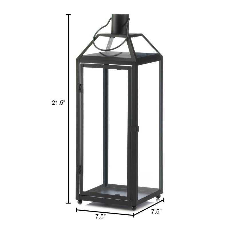 Image 2 of Large Chic Midtown Black Candle Lantern Clear Glass Panels Slanted Glass Roof