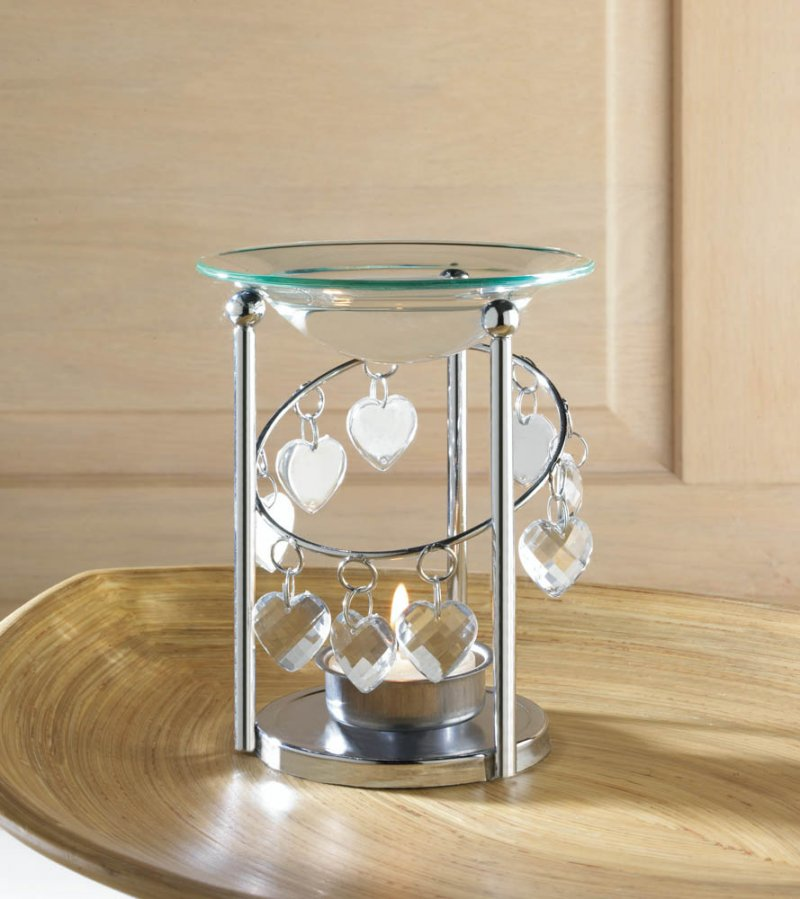 Image 0 of Silver Bejeweled Oil Warmer with Dangling Faceted Heart Jewels