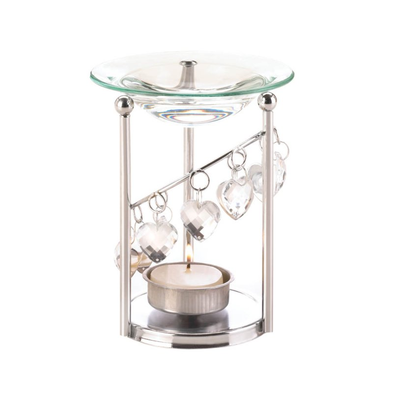 Image 1 of Silver Bejeweled Oil Warmer with Dangling Faceted Heart Jewels