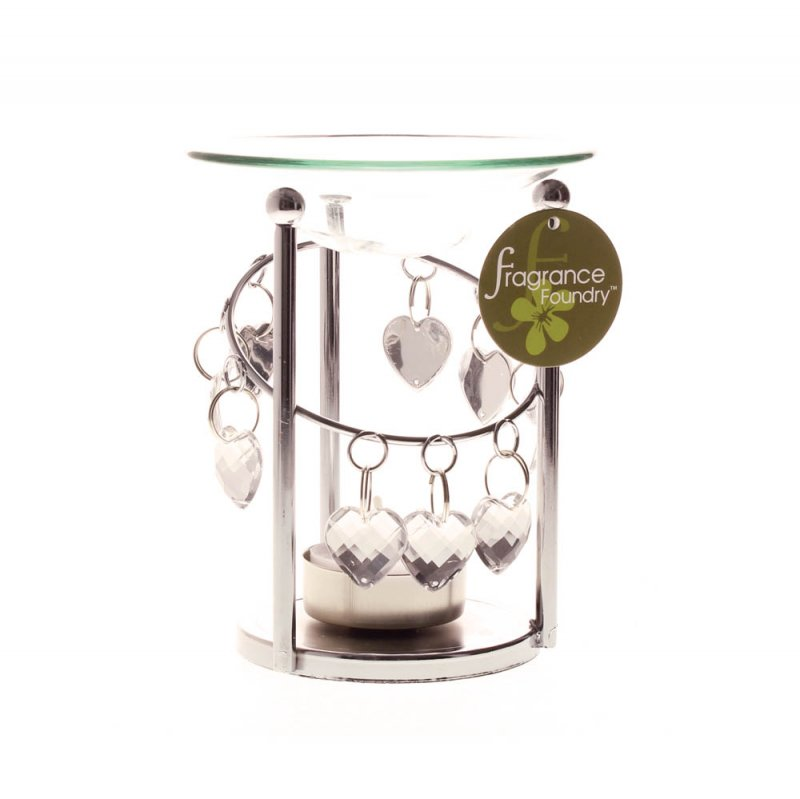 Image 2 of Silver Bejeweled Oil Warmer with Dangling Faceted Heart Jewels