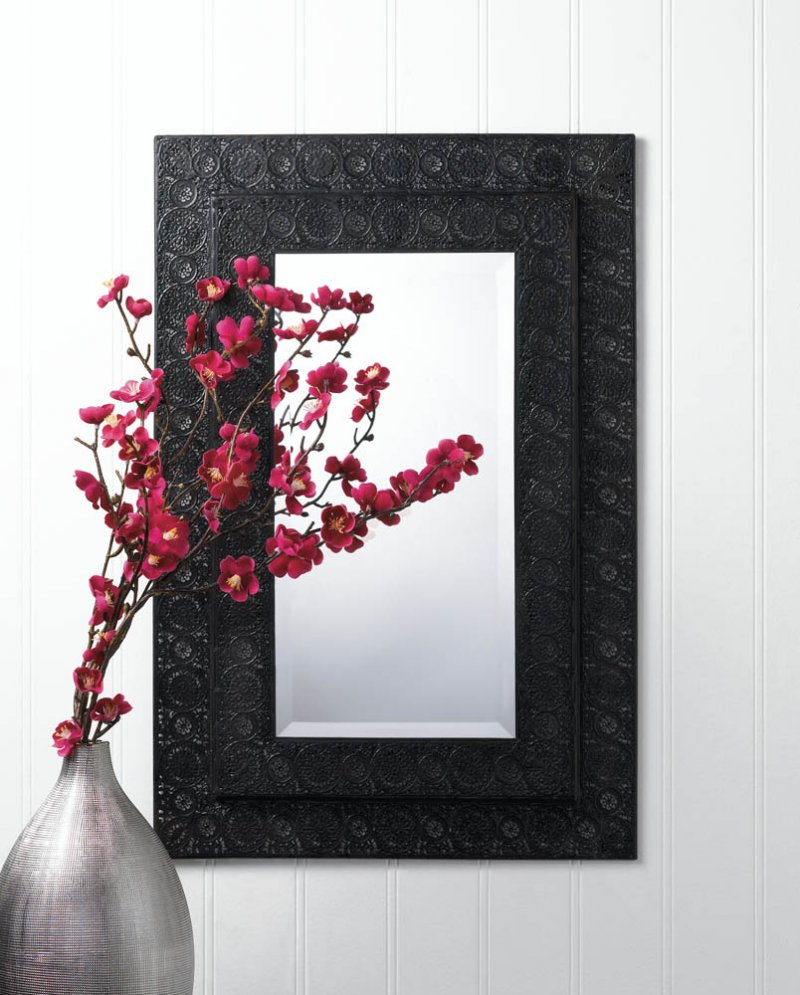 Image 0 of Black Iron Two Tier Frame Moroccan Design Rectangular Beveled Edge Wall Mirror