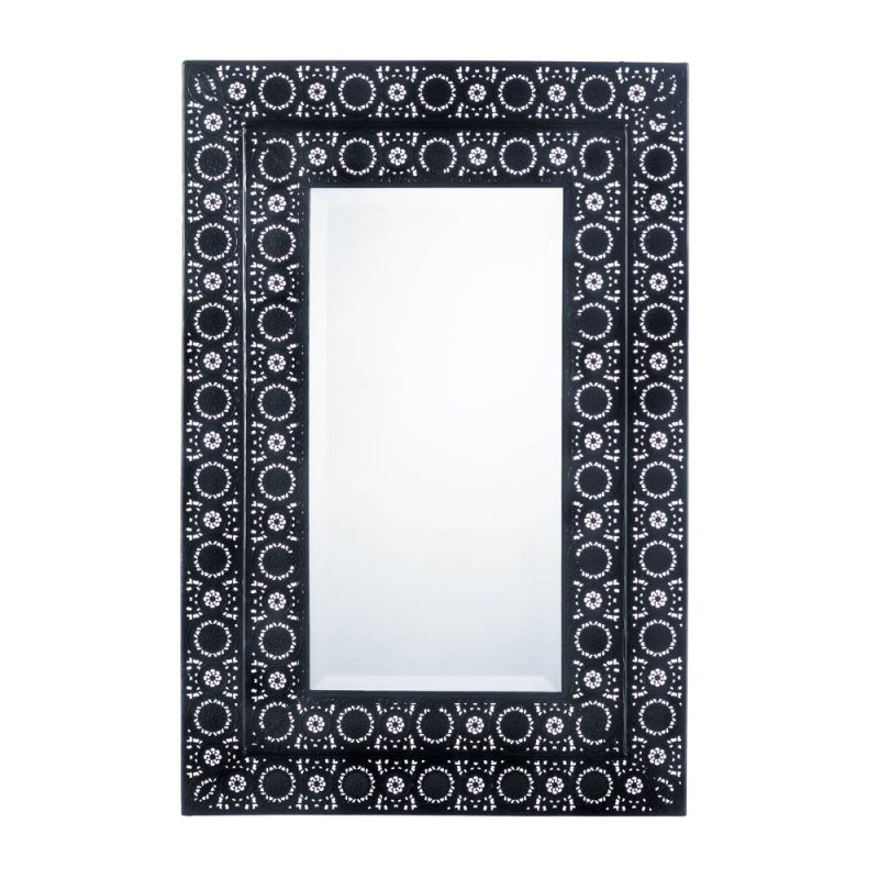 Image 1 of Black Iron Two Tier Frame Moroccan Design Rectangular Beveled Edge Wall Mirror