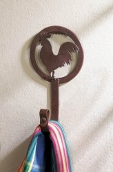 Country Rooster Silhouette Iron Wall Hook