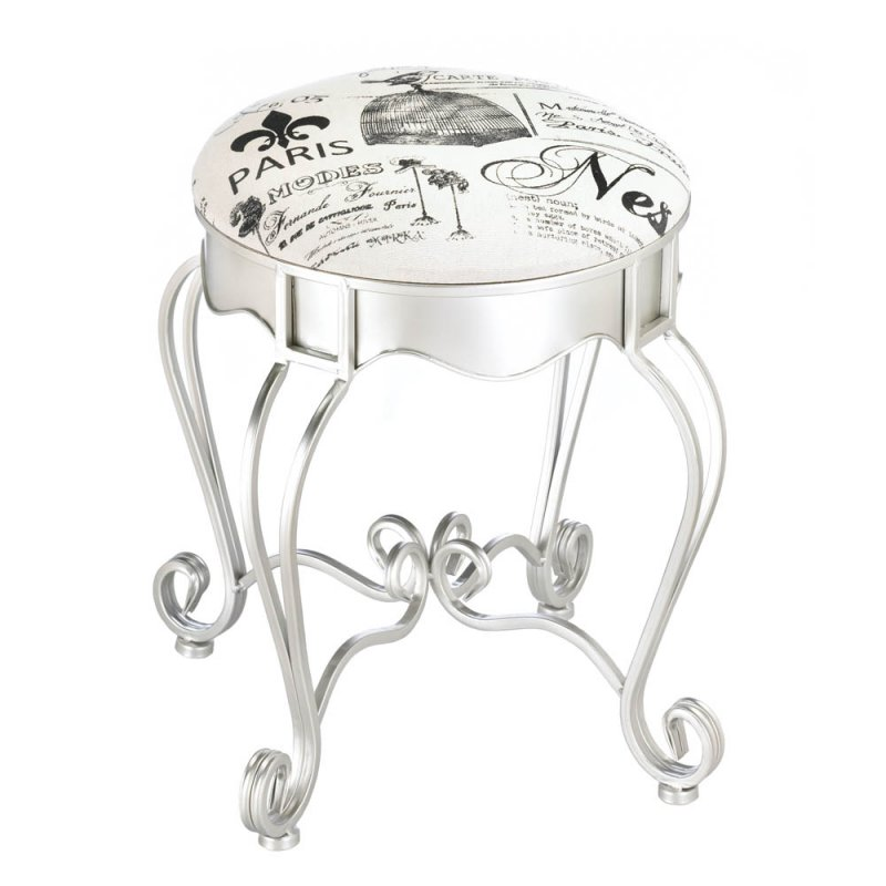 Image 0 of Pretty in Paris Theme Silver Vanity Stool with Flourishes Canvas Cushion
