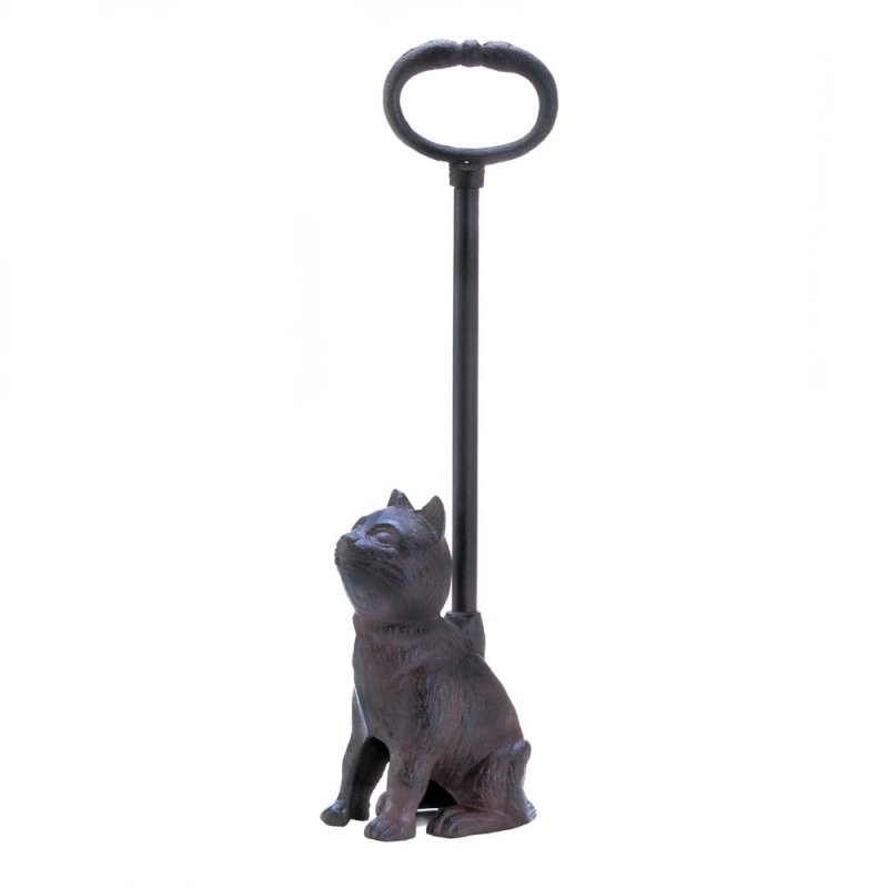 Image 1 of Sitting Kitty Cat Cast Iron Door Stopper with Handle