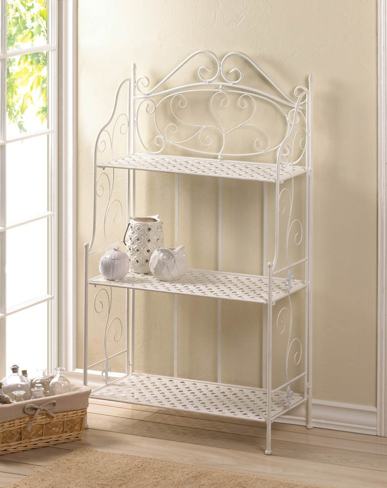 Image 0 of White Iron Bakers Rack with 3 Basket Weave Shelves and Scrolling Flourishes