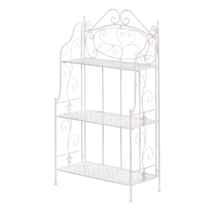 Image 1 of White Iron Bakers Rack with 3 Basket Weave Shelves and Scrolling Flourishes