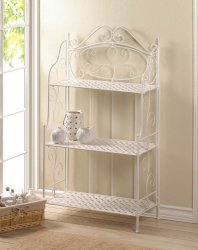 White Iron Bakers Rack with 3 Basket Weave Shelves and Scrolling Flourishes