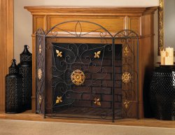 Splendor Tri-Fold Fireplace Screen Black with Golden Ornaments