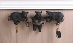 Black Bear Trio Wall Hooks for Keys, Kitchen, Bath, Entryway Rustic Lodge Decor